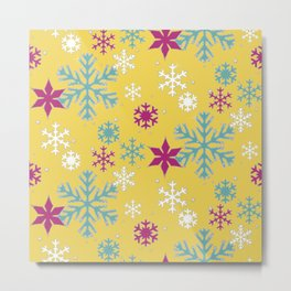 eometric Snowflakes Winter Sparkle Bright Modern Pattern Metal Print