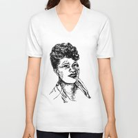 fitzgerald V-neck T-shirts featuring Icon: First Lady of Song by DalkeDesigns