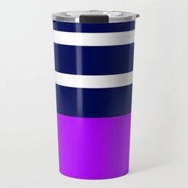 Summer Patio Perfect, Purple, White & Navy Travel Mug