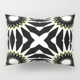 Black White Yellow Pinwheel Flowers Pillow Sham