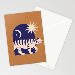 Mid Century Magic Minimalist Modern Trendy Contemporary Mythical Tiger Other Dimensions Sun Moon Zodiac Symbol Tan Earth Tones Stationery Cards