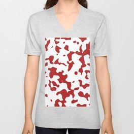 Large Spots - White and Firebrick Red Unisex V-Neck
