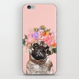 Pug with Flower Crown iPhone Skin