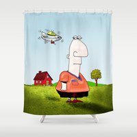 ufo Shower Curtains featuring Little UFO by Peter Gross