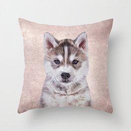Drawing puppy Husky Throw Pillow