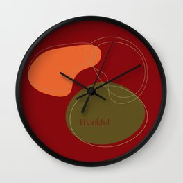 Thankful Autumn Abstract Wall Clock