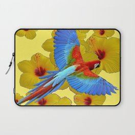 TROPICAL BLUE MACAW YELLOW HIBISCUS ART Laptop Sleeve