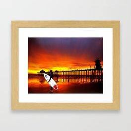 Surfer's Sunset * Huntington Beach, California Framed Art Print