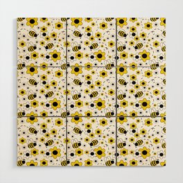 Honey Bumble Bee Yellow Floral Pattern Wood Wall Art