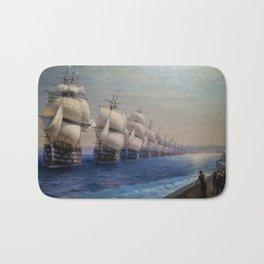 Parade of the Black Sea Fleet by Ivan Aivazovsky Bath Mat