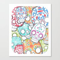 sugar skulls Canvas Prints featuring skulls sugar by wet yeti