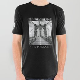 Brooklyn Bridge New York City (black & white with text on black) All Over Graphic Tee