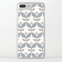Silver grey retro tulip floral Clear iPhone Case