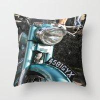 moto Throw Pillows featuring Vintage moto by Johanna Arias