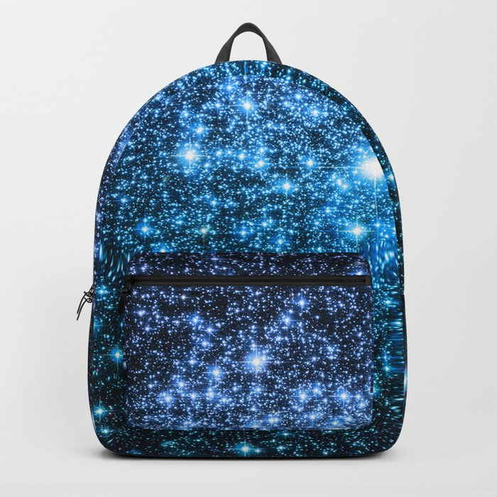 Galaxy Sparkle Stars Periwinkle Blue Turquoise Ombre Backpack