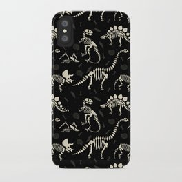 Dinosaur Fossils on Black iPhone Case