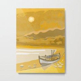 Golden Beach Boat Timeless Metal Print