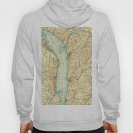 Vintage Map of Tarrytown NY & The Hudson River Hoody