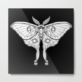 Art Nouveau Moth (black background) Metal Print