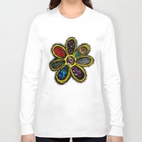 hippy Long Sleeve T-shirts featuring Patchwork Hippy Flower by Silvio Ledbetter