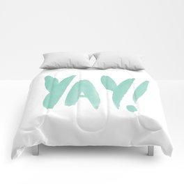 Yay brushed typography Comforters