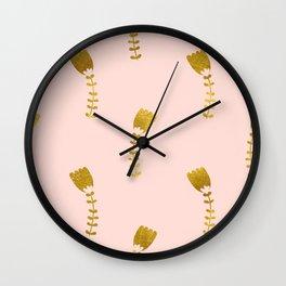 Pink Gold Foil 03 Wall Clock