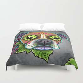 Boxer in White Fawn - Day of the Dead Sugar Skull Dog Duvet Cover