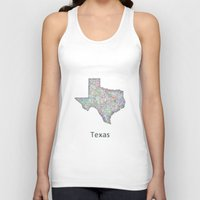 texas Tank Tops featuring Texas map by David Zydd