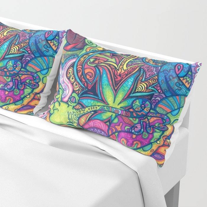 Trippy Weed Pillow Sham