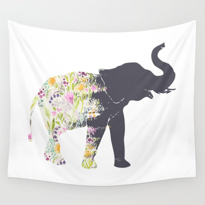 Floral Elephant Animal Print Wall Tapestry