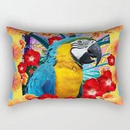 Caribbean Blue Macaw Parrot Hibiscus Flowers Rectangular Pillow