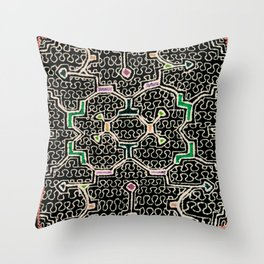 Song for Good Work - Traditional Shipibo Art - Indigenous Ayahuasca Patterns Throw Pillow