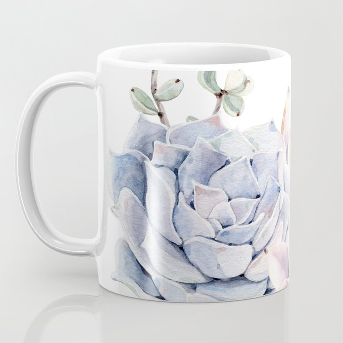 Pristine Succulents Blue and Pink Coffee Mug