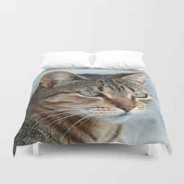 Stunning Tabby Cat Close Up Portrait Duvet Cover
