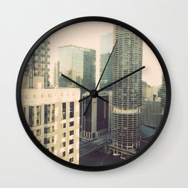 Chicago River Marina Tower Color Photo Wall Clock