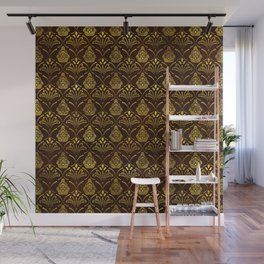 Hamsa Hand pattern -gold on brown glass Wall Mural