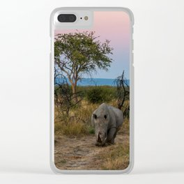 A Rhinoceros and a Sunrise in South Africa Clear iPhone Case