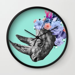 Floral Rhino Wall Clock