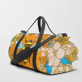 Bumblebee In Wild Rose Wreath Duffle Bag