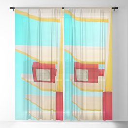 Architectural photography street lamp red+yellow / aqua sky Sheer Curtain