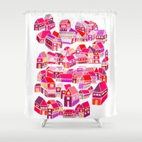 home sweet home Shower Curtains featuring Home Sweet Home by Shakkedbaram