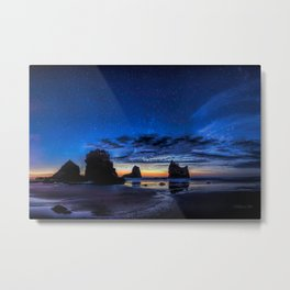 Night at Motukiekie Beach Pano In Greymouth West Coast New Zealand By OLena Art Metal Print