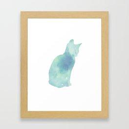 Watercolour silhouette cat - Aqua Green / Blue Framed Art Print
