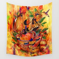 hunter Wall Tapestries featuring Hunter Eats Hunter by Laurence Minoza