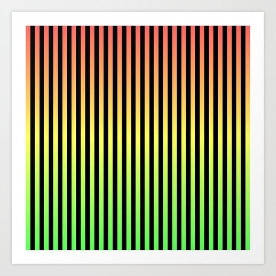 Vertical Stripes - Tricolor Art Print