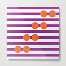 Geometric Stripe & Spot Large Purple & Orange Metal Print