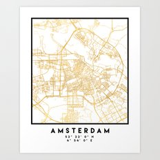AMSTERDAM NETHERLANDS CITY STREET MAP ART Art Print