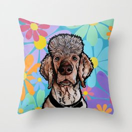 Parti Poodle Throw Pillow
