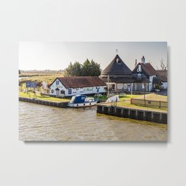 Acle Bridge pub on the Norfolk Broads Metal Print