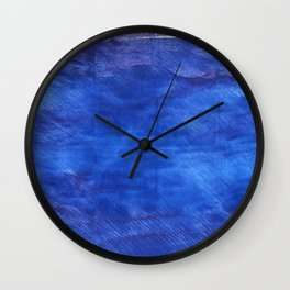 Cerulean blue abstract watercolor Wall Clock